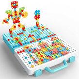 316 قطعة ثلاثية الأبعاد مثقاب كهربائي إبداعي مجموعة حفر برغي فسيفساء ألعاب ألغاز هدية الكريسماس