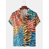 Camicie per le vacanze per il tempo libero tasca petto manica corta stampa mista leopardo Zebra