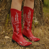 Women Large Size Retro Pointed Toe Embroidered Chunky Heel Cowboy Boots