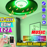 80W E27 Smart Bluetooth Musiklautsprecher RGBW LED Glühbirne UFO Deckenleuchte KTV Home Decoration + Fernbedienung 95-265V