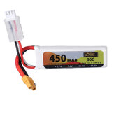 ZOP Power 7.4V 450mAh 95C 2S Lipo Battery XT30 Plug for Micro FPV Racing Drone Quadcopter