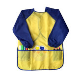 Children Waterproof Artist Painting Aprons Long Sleeve with 3 Pockets Baby Painting Eating Bib Supplies