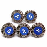 5pcs 80 Grit 4mm Shank Grinding Sandpaper Flap Wheel Sanding Discs For Rotary Tools