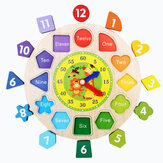 Wooden Clock Shape Sorting Preschool Puzzle Blocks Toddler Kids Educational Toys