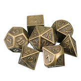 7pcs em relevo Heavy Metal poliédrico Dices RPG Multisided Dices Set Com Bolsa