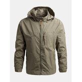 Jaquetas esportivas masculinas impermeáveis de secagem rápida com capuz para exteriores