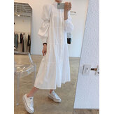 Women Solid Tiered Stand Collar Pleats Puff Sleeve Casual Shirt Midi Dresses