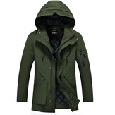Herren Multi-Pocket-Mid-lange Winter dicke warme Jacke