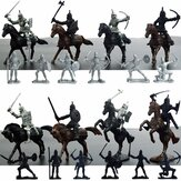 28PCS Medieval Knights Warriors Horses Soldiers Figures Model Playset Kids Toys Gift Decor Collection