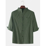 Mens Solid Color Breathable & Thin Chest Pocket Half Sleeve Shirts