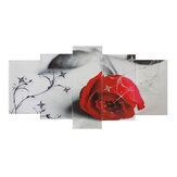 Five Couplets Hanging Picture Living Room Red Rose Flower Painting Print Canvas Picture Wall Art Decoration no Frame