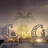 Ramadan in legno Eid Mubarak Moon Star Islam Pendente pendente Piatto con luce stringa LED