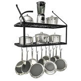 2 Tier Kitchen Hanging Pan Pot Rack Wall Mounted Storage Shelf w/ 10 Hook