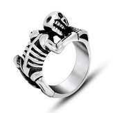 Halloween Punk Titanium Steel Skull Ring Skeleton Bone Men Ring Jewelry