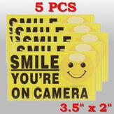 5pcs sorriso que você está na câmera auto-adhensive de alarme de vídeo da câmara de segurança adesivos sinal decalque