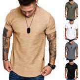 夏の無地の革ラベルデザインラウンドネックメンズ半袖Tシャツアウトドアスポーツ服