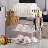 3-warstwowy stojak na naczynia kuchenne ze stali nierdzewnej Suszarka do kubków Ociekacz Taca Uchwyt na sztućce