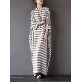 Kasual Wanita 3/4 Lengan Striped O-Neck Longgar Cotton Maxi Dress