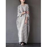 Lässig Damen 3/4 Ärmel gestreifter O-Ausschnitt Baggy Cotton Maxi Kleid