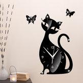 Akrylowy zegar ścienny Cute Cat Osobowość twórcza Zegar ścienny Black Cat Prosty salon mody Kreatywny zegar ścienny