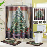 Mutlu Noel Ağacı Duş Perdesi Banyo Pedi Kaide Kilim Kapak Tuvalet Kapağı Mat Banyo 2020 Noel Dekorasyon için