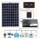 12V/24V DIY Solar System Kit Soalr Charge Controller 18V 20W Solar Panel 800W Solar Inverter Solar Power Generation Kit