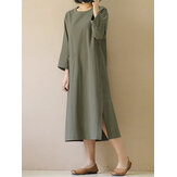 Women Vintage 3/4 Sleeve Split Casual Solid Mid-long Dress