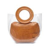 女性ワニパターンバッグクリア2個ハンドバッグ