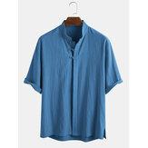 メンズコットン100%オリエンタルエスニックソリッドカラースタンドカラー3/4スリーブシャツ
