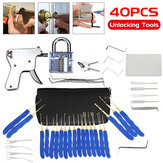 40Pcs Unlocking Practice Training Lock Key Extractor Padlock Lockpick Tool Kit