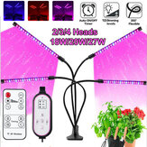 18W/20W/27W 2/3/4 Heads USB LED Plant Growing Light Clip-on Flexible Lamp with Remote Control DC5V