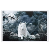 White Wolf Stone Canvas Muurschilderijen Frameloze foto's Art Home Decor