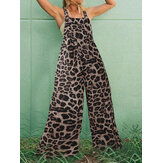 Leopard Animal Print Button Adjustable Straps Wide Leg Casual Jumpsuits