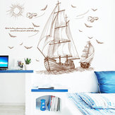 47''x35 '' Gran barco pirata vela etiqueta de la pared de vinilo CLORURO DE POLIVINILO Decal Art Home Decor