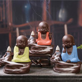 Purple Clay Backflow Incense Cone Burner Holder Cute Monk Fragrant Smoke Backflow Censer Decor