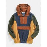 Mens Designer Patchwork Corduroy Half Button Pullover Hoodies