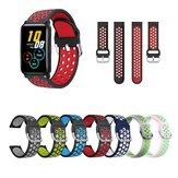 20mm Dual Color Stoma Soft Siliconen Horlogebandje Horlogeband voor Huawei Honor Horloge ES / BlitzWolf BW-HL1 / HL2 / Haylou LS02