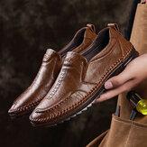 Мужская дышащая нескользящая обувь из воловьей кожи Винтаж Повседневная деловая обувь