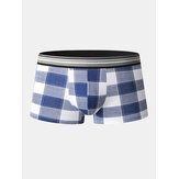 Mens Cotton Classical Plaid Print Home Breathable Mid Waist Boxers