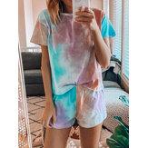 Tie Dye Print Loungewear Set Pijamas dradient de manga corta de dos piezas