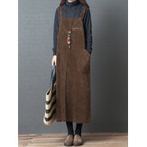 Women Casual Solid Color Corduroy Strap Dress with Pockets