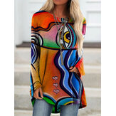 Women Graffiti Print Long Sleeve Irregular Casual Loose Plus Size Blouse