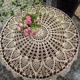80cm White Hand Crochet Tablecloth Table Runner Desk Cover Topper Pineapple Floral Wedding Decor