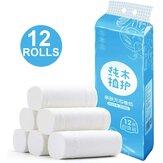 12 рулонов стандартная нейтральная белая туалетная бумага Ванная комната салфетка 4-слойная туалетная бумага салфетка бумажная туалетная