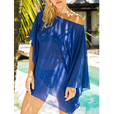 Women Solid Color Off Shoulder Perspective Loose Beach Sun Protection Cover-Ups