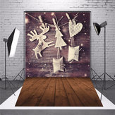 5 x 7 FT Christmas Christmas Christmas Elk Wood Board Foto vinile sfondo