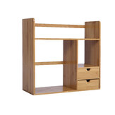 Bamboo Strip Office Kleines Bücherregal Desktop Storage Rack mit doppelter Schicht