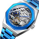 FOSINING FSG8202 Fashon hommes montre automatique cadran creux affichage lumineux bracelet en acier inoxydable montre mécanique