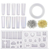 113Pcs Crystal Epoxy Resin Silicone Pendant Casting Mould Kit Transparent Jewelry Making Mold for DIY Crafting Decor