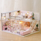 3D Woodcraft DIY Assembly Creative Boneca House Kit Decoração Toy with LED Light for Kids Gift